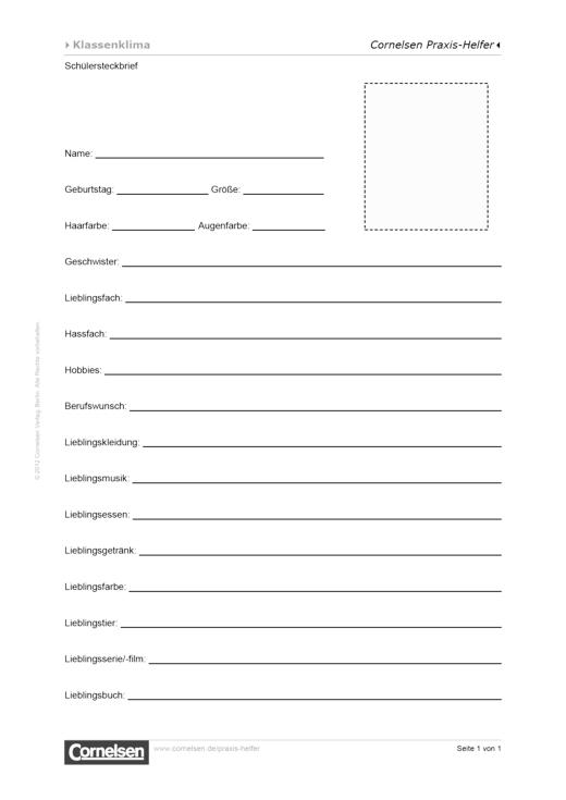 Schülersteckbrief - Editierbare Kopiervorlage