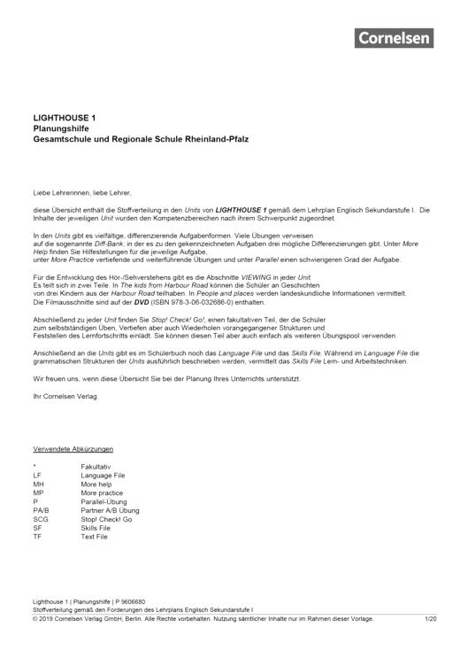 English G Lighthouse - English G Lighthouse 1 – Planungshilfe für Gesamtschulen und Regionale Schulen in Rheinland-Pfalz - Synopse - Webshop-Download