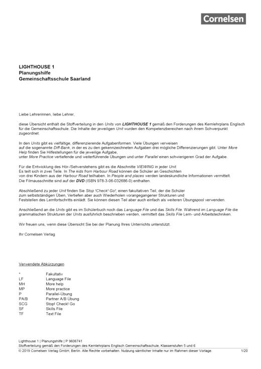 English G Lighthouse - English G Lighthouse 1 – Planungshilfe für Gemeinschaftsschulen im Saarland - Synopse - Webshop-Download