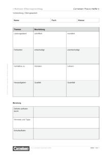 Vorbereitung eines Elterngesprächs - Editierbare Kopiervorlage