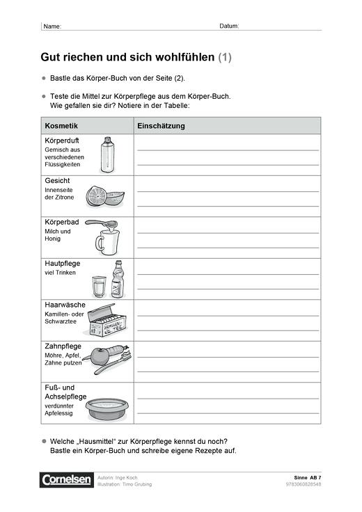 Sachunterricht plus - Grundschule - Sinne: Gut riechen und sich wohlfühlen - Arbeitsblatt