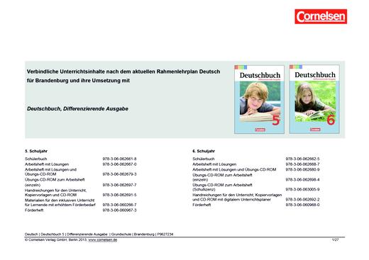 Deutschbuch - Jahresplaner für Brandenburg - 5/6 - Stoffverteilungsplan - 5. Schuljahr