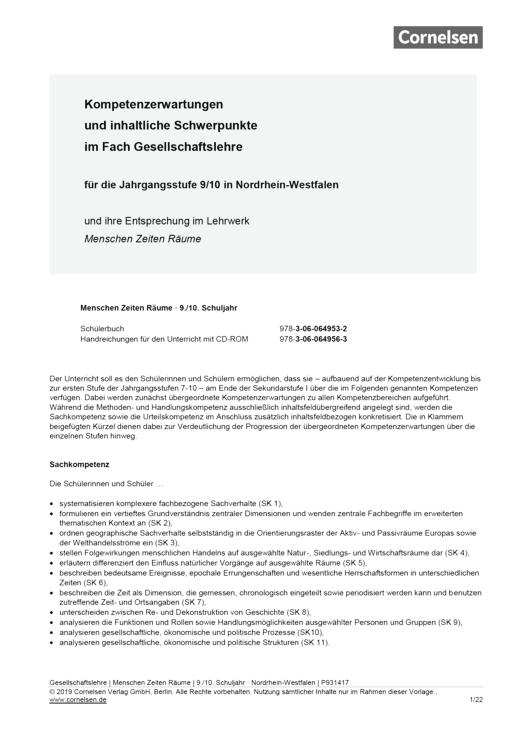 """Menschen-Zeiten-Räume - Synopse zu """"Menschen-Zeiten-Räume"""" (NRW) 3 - Synopse - Band 3: 9./10. Schuljahr"""