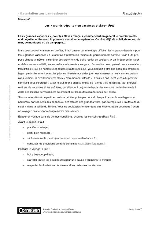 Les « grands départs » en vacances et Bison Futé (Niveau A2) - Arbeitsblatt - Webshop-Download