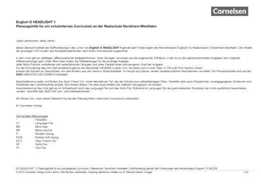 English G Headlight - Planungshilfe für Realschulen in Nordrhein-Westfalen - Band 1: 5. Schuljahr