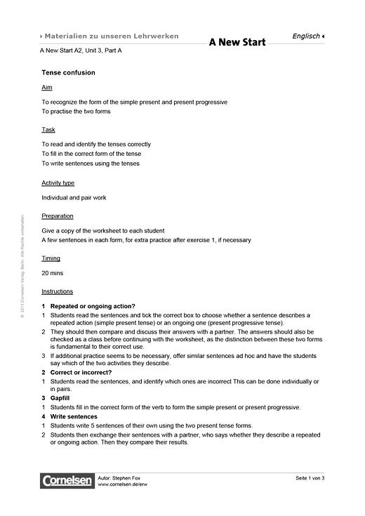 Unit 03A: Tense confusion - Arbeitsblatt - Webshop-Download
