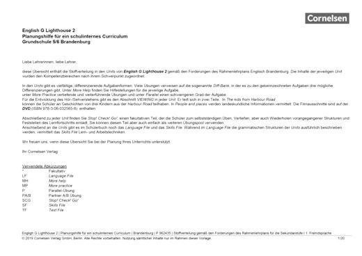 English G Lighthouse - Planungshilfe für ein schulinternes Curriculum Brandenburg - Band 2: 6. Schuljahr