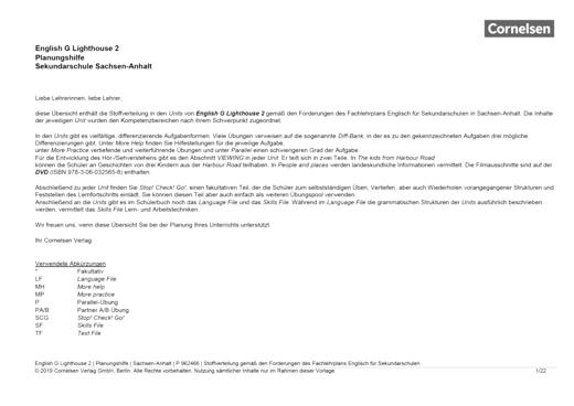 English G Lighthouse - Planungshilfe für Sekundarschulen in Sachsen-Anhalt - Band 2: 6. Schuljahr