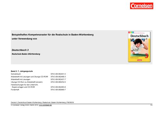 Deutschbuch - Kompetenzraster Deutschbuch 3, Realschule Baden-Württemberg - Synopse - Band 3: 7. Schuljahr