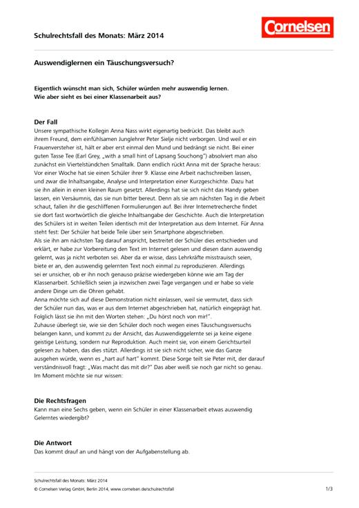 """Auswendiglernen ein Täuschungsversuch?"" - Schulrechtsfall des Monats März 2014 - Schulrechtsfall"