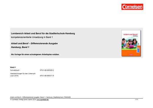 """Wirtschaft - Planungshilfe zu """"Arbeit und Beruf Differenzierende Ausgabe"""", Hamburg, Band 1 - Planungshilfe - Webshop-Download"""