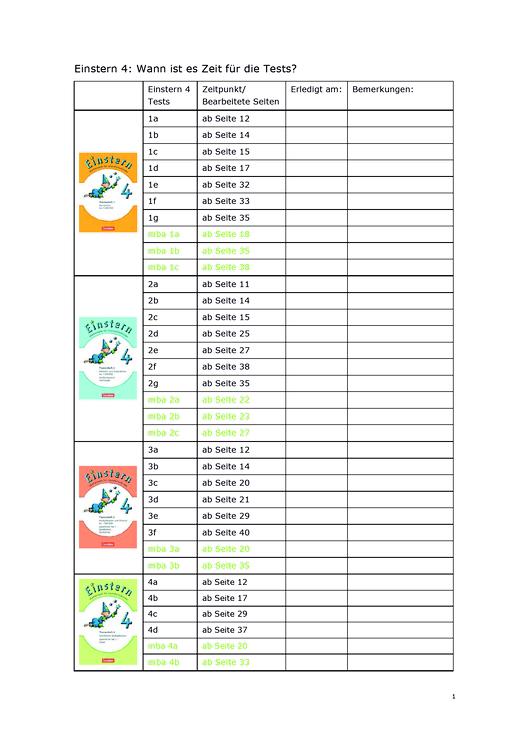Einstern - Testzeitpunkte für Einstern 4 (Neubearbeitung) - Testübersicht