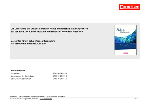 Fokus Mathematik - Gymnasiale Oberstufe - Schulinternes Curriculum Einführungsphase - Synopse - Webshop-Download