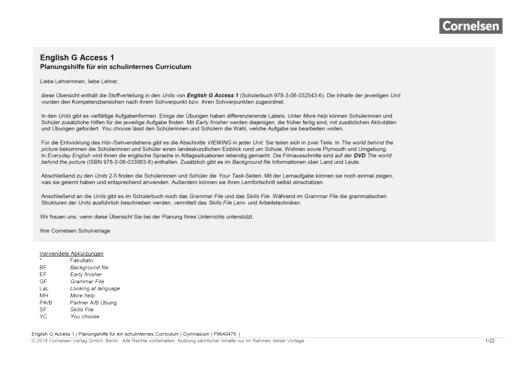 English G Access - English G Access 1 – Planungshilfe für ein schulinternes Curriculum - Stoffverteilungsplan - Webshop-Download