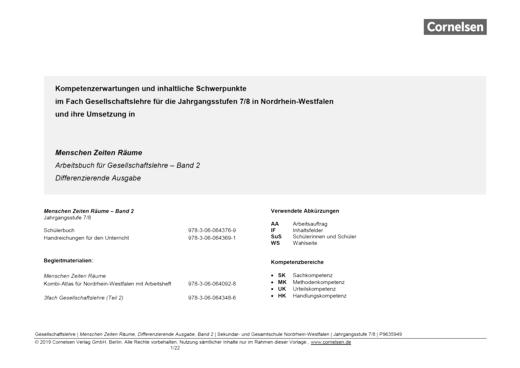 Menschen-Zeiten-Räume - Planungshilfe zu Menschen-Zeiten-Räume – Differenzierende Ausgabe NRW, Band 2 - Planungshilfe - Band 2: 7./8. Schuljahr