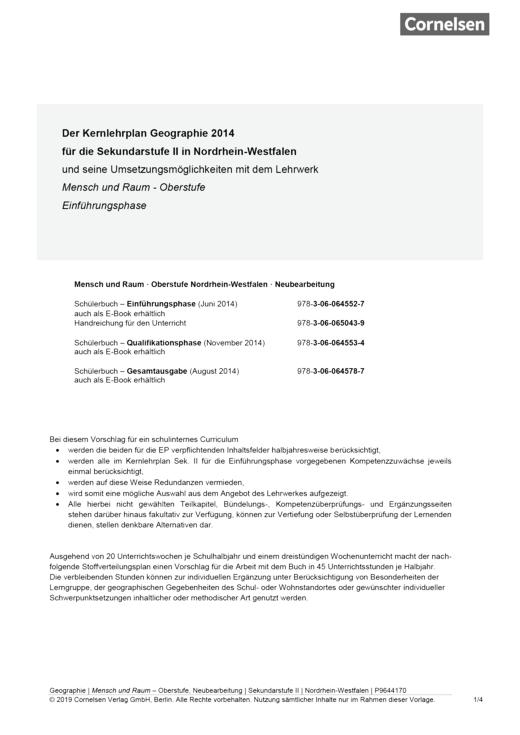 Mensch und Raum - Mensch und Raum, Schulinternes Curriculum Geographie Einführungsphase NRW - Planungshilfe - Einführungsphase