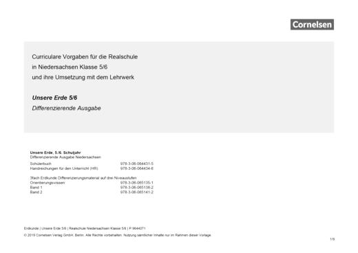 Unsere Erde - Vorlage schuleigener Arbeitsplan – Niedersachsen Realschule, Klasse 5/6 - Planungshilfe - 5./6. Schuljahr