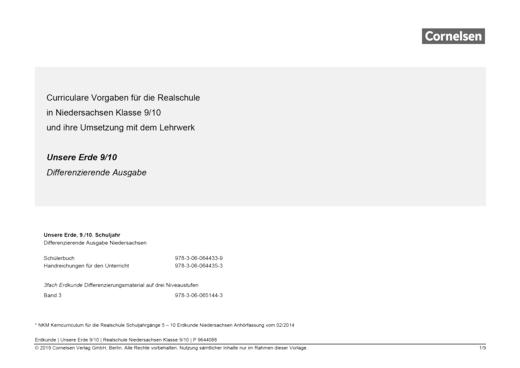 Unsere Erde - Vorlage schuleigener Arbeitsplan – Niedersachsen Realschule, Klasse 9,10 - Planungshilfe - Webshop-Download