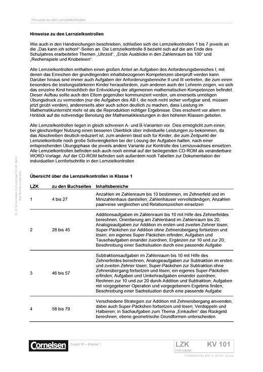 Super M - Lernzielkontrollen Klasse 1 mit Lösungen - Kopiervorlage - Webshop-Download