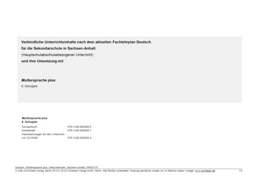 Muttersprache plus - Synopse für Sachsen-Anhalt - Hauptschulbezogener Unterricht - 8. Schuljahr