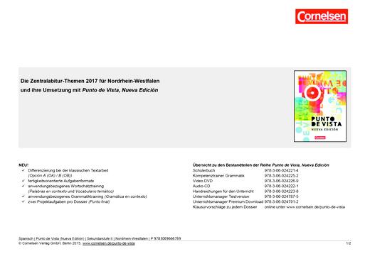 Punto de vista - Zentralabitur-Themen 2017 für Punto de vista - Nueva edición für die Oberstufe - Synopse - B1/B2