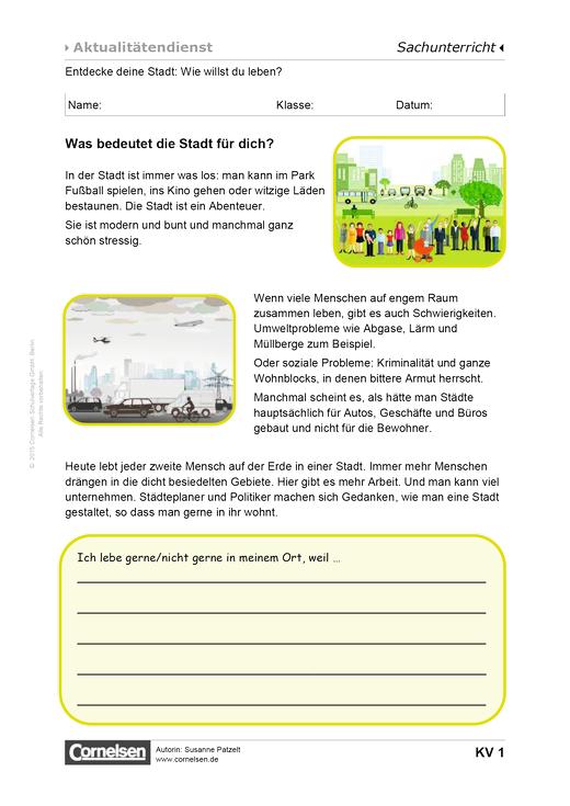 Entdecke deine Stadt: Wie willst du leben? - Arbeitsblatt - Webshop-Download