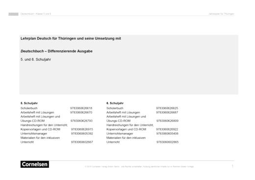 Deutschbuch - Jahresplaner für Thüringen - 5/6 - Stoffverteilungsplan - 5. Schuljahr