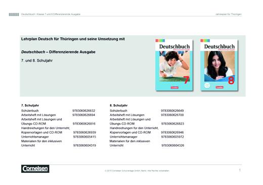 Deutschbuch - Jahresplaner Thüringen - 7/8 - Stoffverteilungsplan - 7. Schuljahr