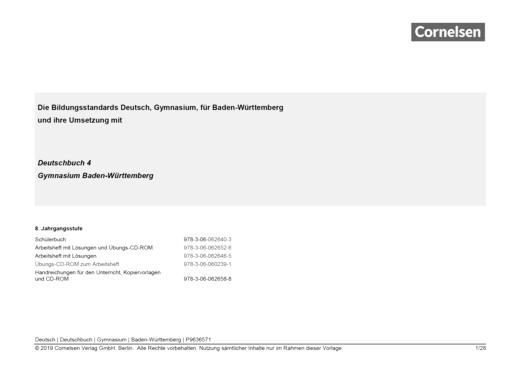 Deutschbuch Gymnasium - Synopse Deutschbuch Gymnasium Baden-Württemberg, Band 4 (8.Schuljahr) - Synopse - Band 4: 8. Schuljahr