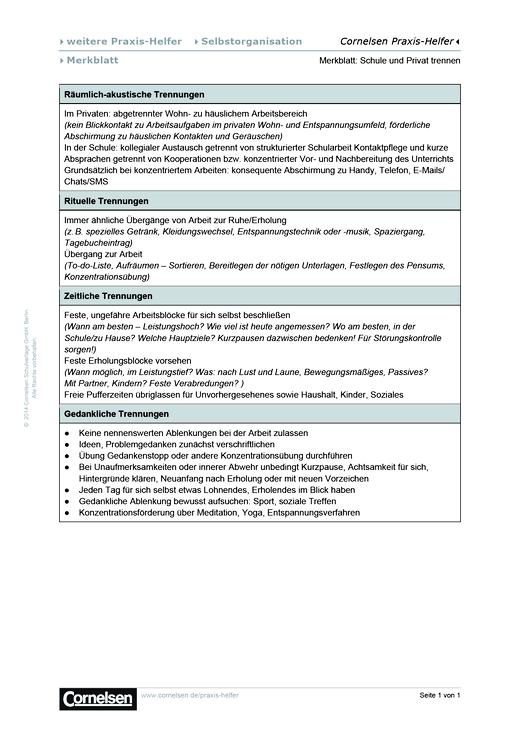 Selbstorganisation: Merkblatt Schule und Privat - Editierbare Kopiervorlage
