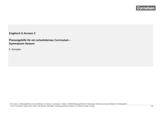 English G Access - English G Access 2 - Planungshilfe für ein schulinternes Curriculum Hessen - Synopse - Band 2: 6. Schuljahr