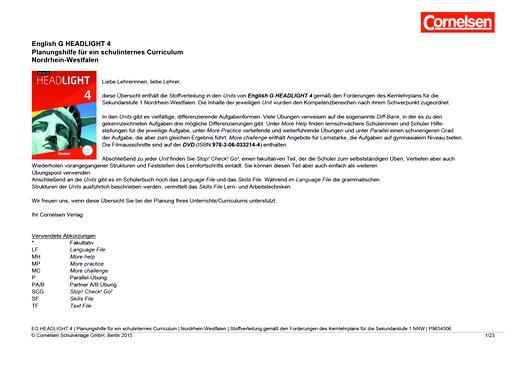English G Headlight - Planungshilfe für NRW - Band 4: 8. Schuljahr