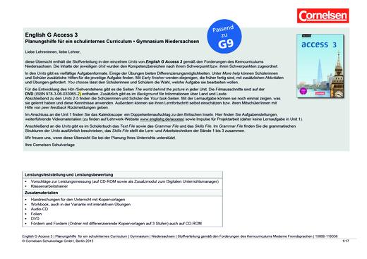 Access - Planungshilfe für ein schulinternes Curriculum Niedersachsen (G9) - Band 3: 7. Schuljahr
