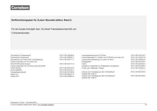 À plus ! - À plus ! Nouvelle Edition Band 2 Stoffverteilungsplan, 3 Wochenstunden - Stoffverteilungsplan - Band 2