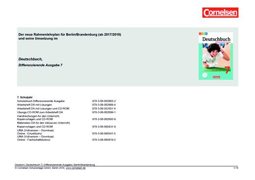 Deutschbuch - Planungshilfe für Berlin und Brandenburg - 7. Schuljahr