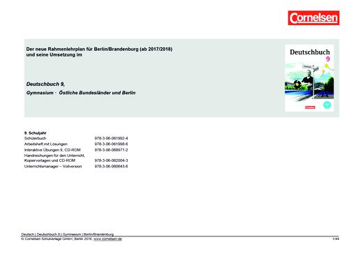 Deutschbuch Gymnasium - Synopse Deutschbuch 9, Gymnasium Berlin/Brandenburg (neuer Rahmenlehrplan) - Planungshilfe - 9. Schuljahr