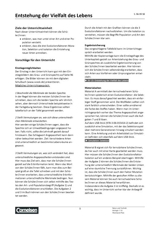 """Natur und Technik - Biologie Neubearbeitung - Biologie: Handreichungen zu dem Kapitel """"Vielfalt und Veränderung"""" - Übungsaufgaben und Lösung - 7.-10. Schuljahr"""