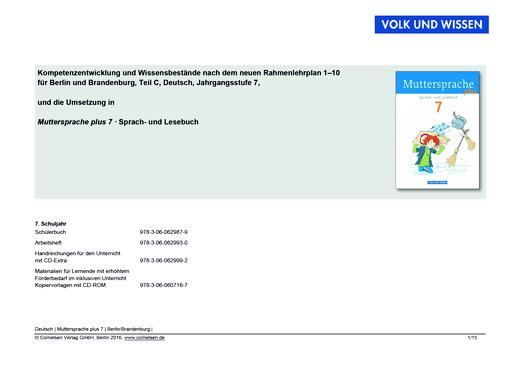Muttersprache plus - Planungshilfe Rahmenlehrplan Berlin/Brandenburg - 7. Schuljahr