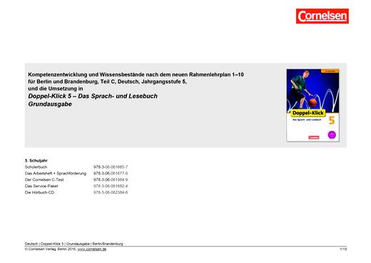 Doppel-Klick - Doppel-Klick Grundausgabe 5 / Planungshilfe für Berlin und Brandenburg - Planungshilfe - 5. Schuljahr