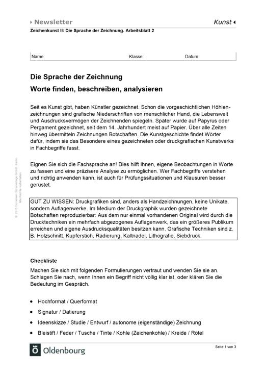 Kammerlohr - Die Sprache der Zeichnung: Worte finden, beschreiben, analysieren - Arbeitsblatt - Band 2