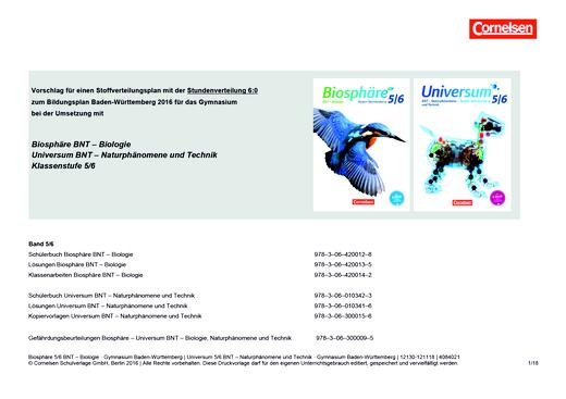 Universum Physik - Vorschlag für ein Schulcurriculum Stundenverteilung 6:0 - Stoffverteilungsplan - 5./6. Schuljahr: BNT - Naturphänomene und Technik