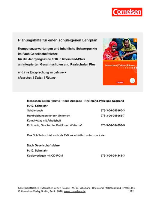 Menschen-Zeiten-Räume - Menschen-Zeiten-Räume 9/10: Planungshilfe für einen schuleigenen Lehrplan (Rheinland-Pfalz) - Planungshilfe - Band 3: 9./10. Schuljahr