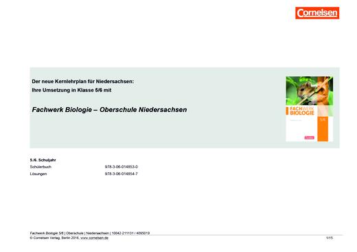 Fachwerk Biologie - Das neue Kerncurriculum für die OBERSCHULE in Niedersachsen – Umsetzung mit Fachwerk Biologie in Klasse 5/6 - Synopse - 5./6. Schuljahr