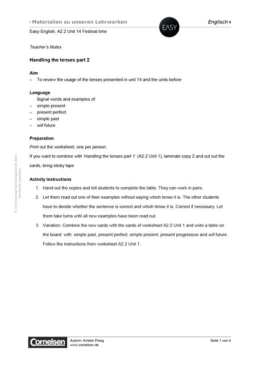 Easy English - Easy English A2.2 Unit 14: Handling the tenses part 2 - Arbeitsblatt - Webshop-Download