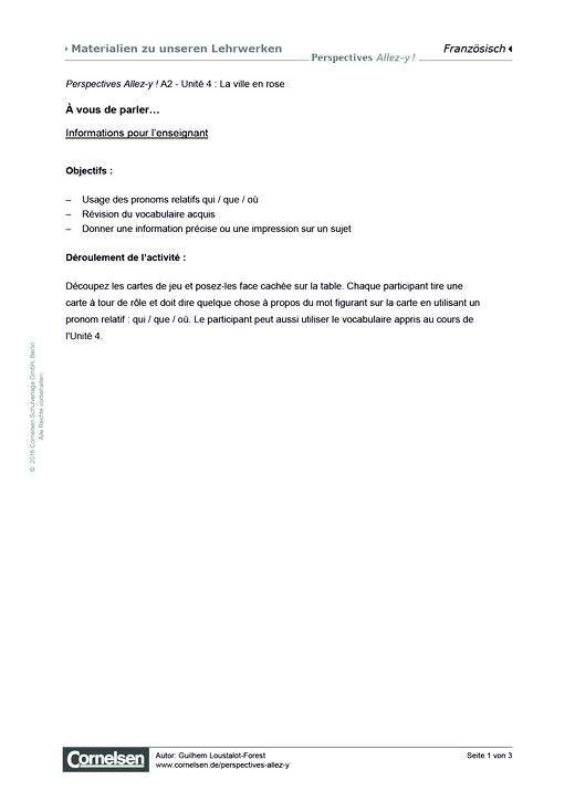 Perspectives - Allez-y ! - À vous de parler… - Arbeitsblatt - Webshop-Download
