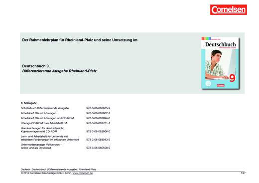 Deutschbuch - Deutschbuch Differenzierende Ausgabe 9 – Planungshilfe Rahmenlehrplan Rheinland-Pfalz - Planungshilfe - 9. Schuljahr