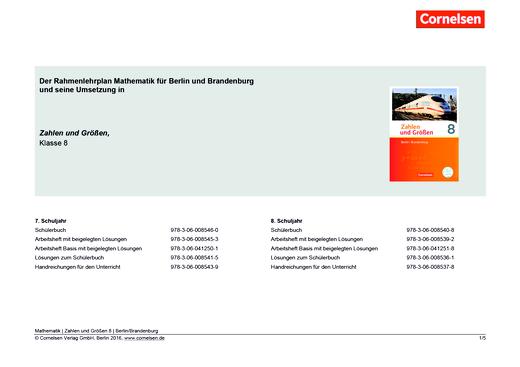 Zahlen und Größen - Der Rahmenlehrplan für Berlin-Brandenburg und die Umsetzung in Zahlen und Größen 8 - Stoffverteilungsplan - 8. Schuljahr