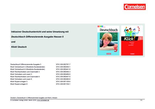 Klick! Deutsch - Inklusiver Unterricht mit dem Deutschbuch Differenzierende Ausgabe - Synopse für Hessen - 5. Schuljahr