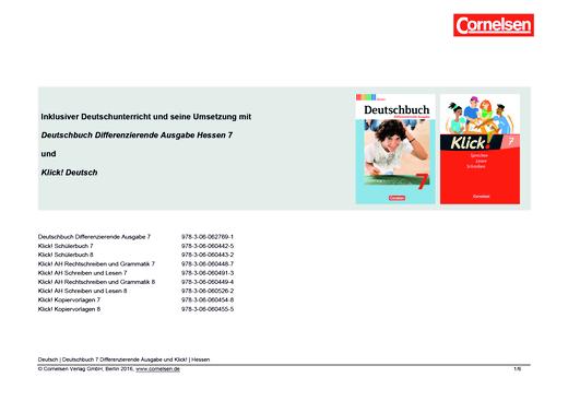 Klick! Deutsch - Inklusiver Unterricht mit dem Deutschbuch Differenzierende Ausgabe Hessen und Klick! Deutsch in Klasse 7 - Synopse - 7. Schuljahr
