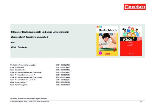 Klick! Deutsch - Inklusiver Unterricht mit dem Deutschbuch Erweiterte Ausgabe und Klick! Deutsch in Klasse 7 - Synopse - 7. Schuljahr